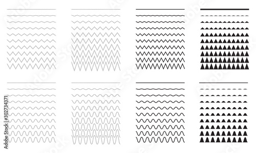 Fotomural  Set of wavy - curvy and zigzag - criss cross horizontal lines.
