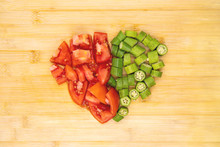 Tomato And Okra Vegetables In ...