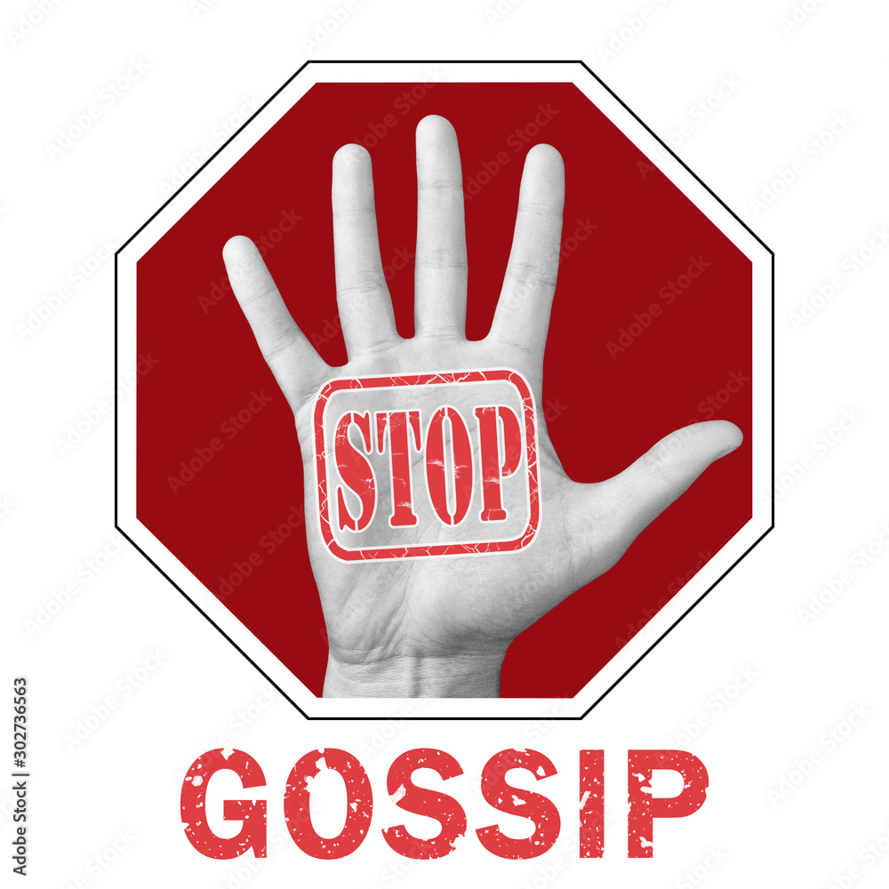 Fototapety, obrazy: Stop gossip conceptual illustration. Open hand with the text stop gossip