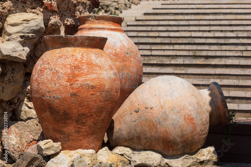 Ancient amphora in old town of Nesebar, Bulgaria Wallpaper Mural