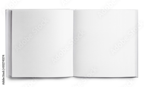 Fototapeta Open square book with blank pages, isolated on white background