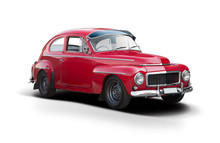 Red Classic Swedish Car Side View Isolated On White