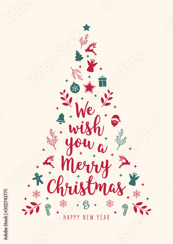 Christmas tree greeting text calligraphy with icon ornament elements beige background