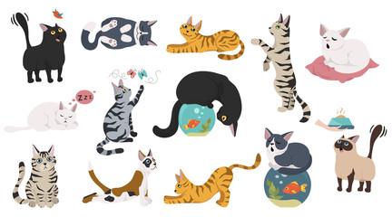 Zbirka likova iz crtanih mačaka. Različite postavke mačaka, joga i emocije. Jednostavan dizajn u ravnoj boji.