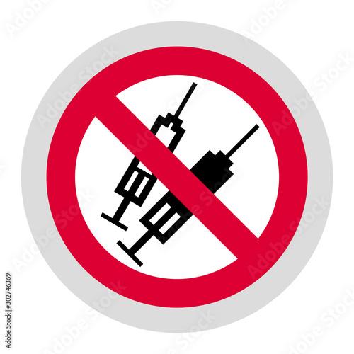 Fotomural No syringes or No drugs forbidden sign, modern round sticker
