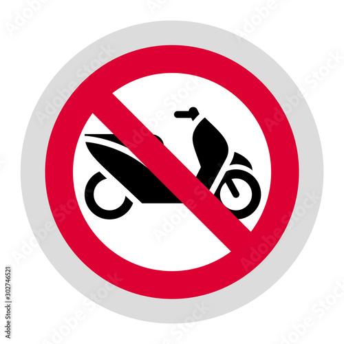 Fotografía No scooter forbidden sign, modern round sticker