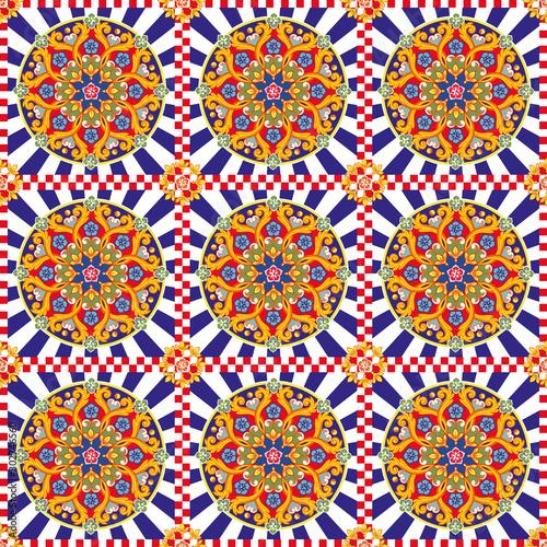 Tapety Orientalne  bezszwowe-jasne-tlo-kolorowe-etniczne-okragle-ozdobne-mandali-modny-wzor-ilustracja-wektorowa
