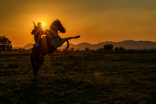 Silhouette Of Cowboy Man Ridin...