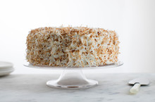 Coconut Pecan Cake On Cake Stand