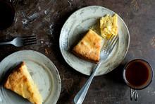 Overhead View Of Lemon Cake Slices On Plates