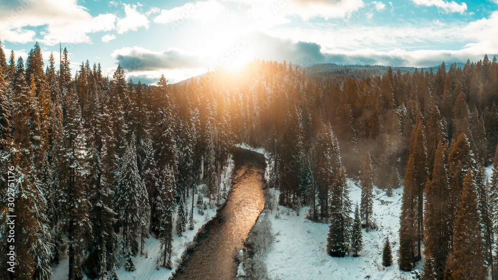 Fototapety, obrazy: Golden River Sunset in Oregon Winter on the Rogue River