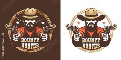 Bearded cowboy with guns - vintage wild west emblem Obraz na płótnie