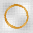 gold round christmas frame on transparent background
