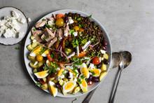 Overhead View Of Greek Lentil Salad