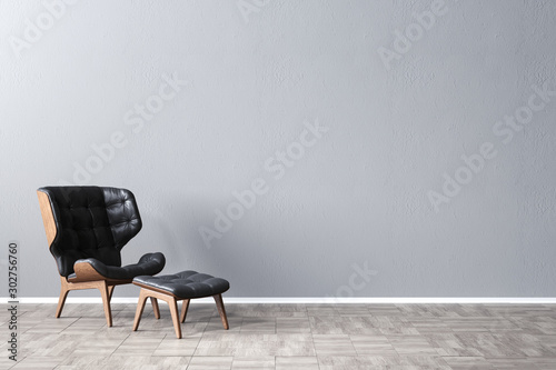 Fototapeta Black leather armchair in front of a gray mock-up wall, 3D Rendering, 3D Illustration obraz