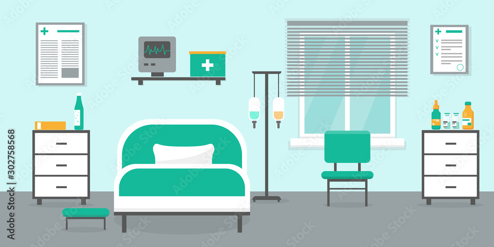 Fototapety, obrazy: Intensive therapy room vector interior.