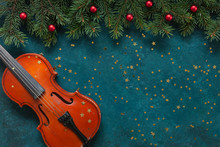 Old Violin And Fir-tree Branch...