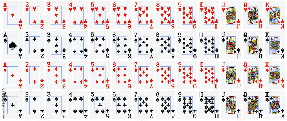 Fototapeta Full set of playing cards isolated on white background - High quality.