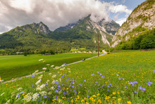 View Of Road Leading Into Mountains, Unterburg, Styria, Tyrol, Austrian Alps, Austria