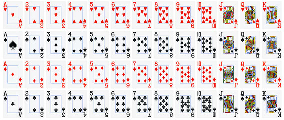 Full set of playing cards isolated on white background - High quality.