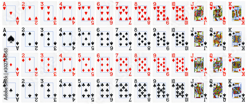 Full set of playing cards isolated on white background - High quality Tapéta, Fotótapéta