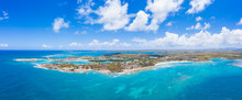 Aerial Panoramicby Drone Of Long Bay, Devil's Bridge And The Verandah Resort, Antigua, Antigua And Barbuda, Leeward Islands