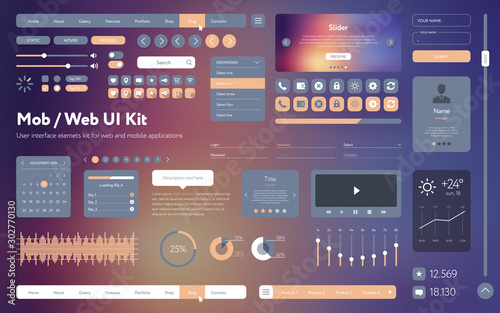 Vector UI UX kit for mobile applications and web sites Canvas Print