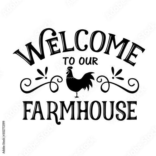 Cuadros en Lienzo Welcome To Our Farmhouse vector decor