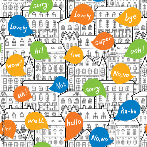 Seamless pattern consisting of houses and babbles. Fototapet