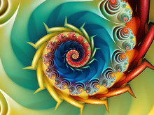 Fractal Wave. Colorful Digital Pattern With An Abstract Fractal Spinning Wave.