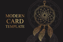 Modern Luxury Card Template For Business Or Presentation Or Greeting With Golden Dream Catcher On A Black Background.