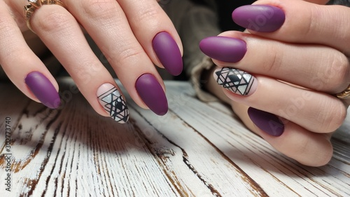 Trendy manicure design on a beautiful background.