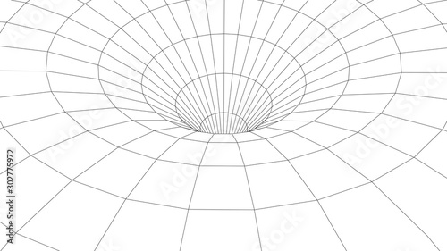 Wireframe abstract tunnel Canvas Print