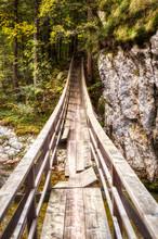 Broken Wooden Suspension Bridge