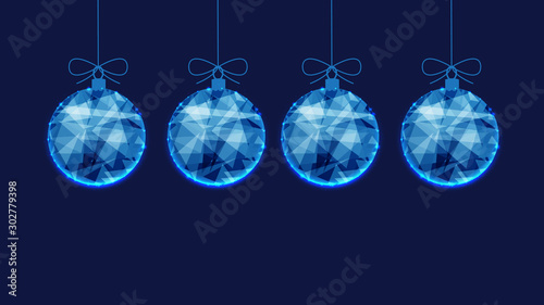 In de dag Bol Template for New Year or Christmas background from blue polygonal Christmas balls.