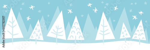 Türaufkleber Künstlich Christmas tree winter snow landscape seamless pattern background banner