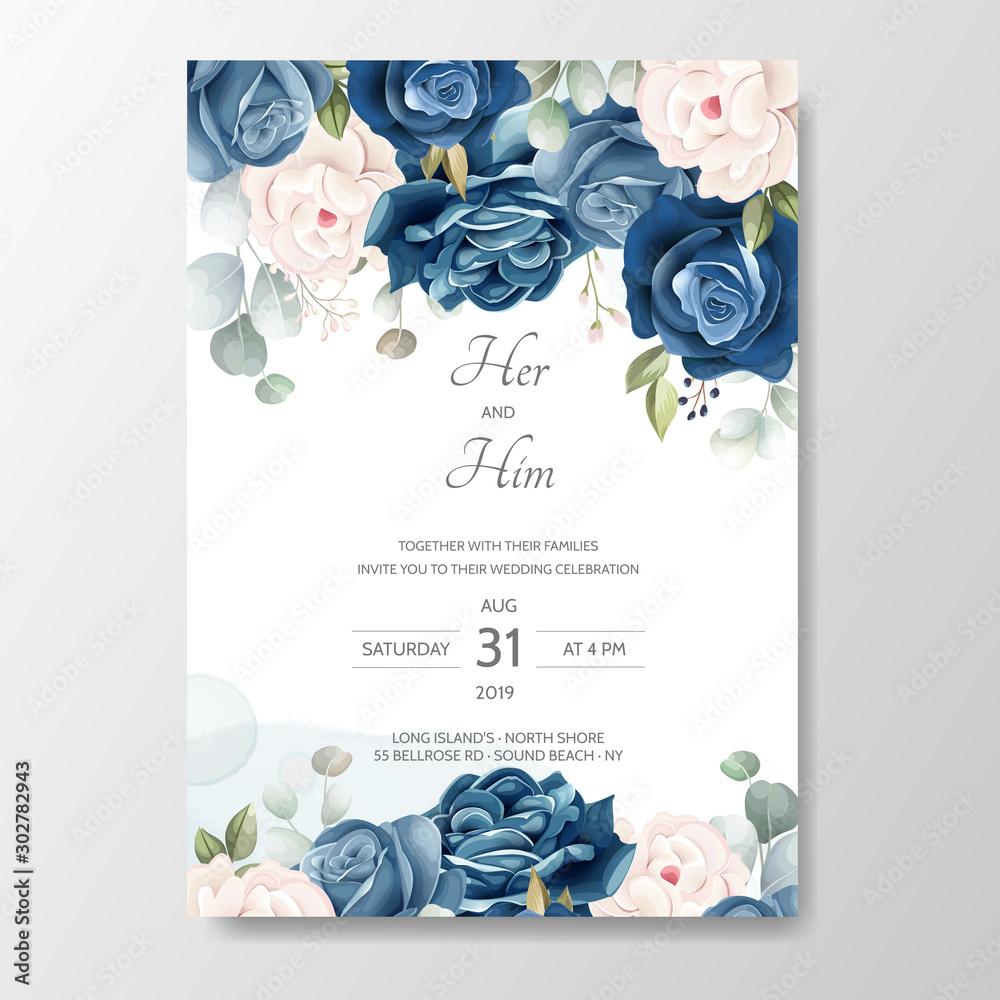 Fototapety, obrazy: hand drawn floral wedding invitation card