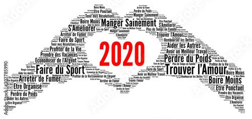 Résolutions 2020 nuage de mots concept Wallpaper Mural
