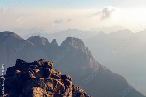 Foto op Plexiglas Grijs Beautiful mountain landscape, view from Mount Moses in Egypt on the Sinai Peninsula