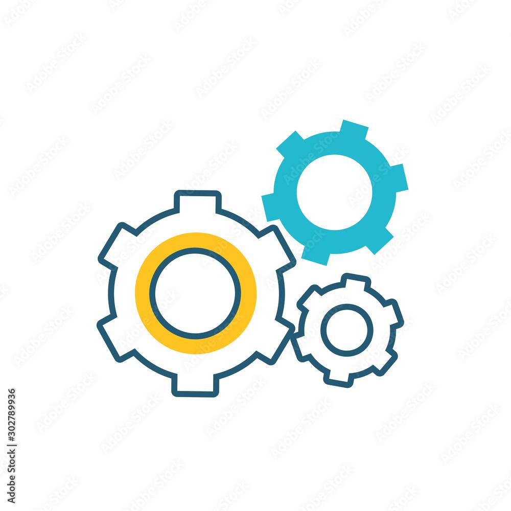 Fototapeta gears machine settings isolated icon