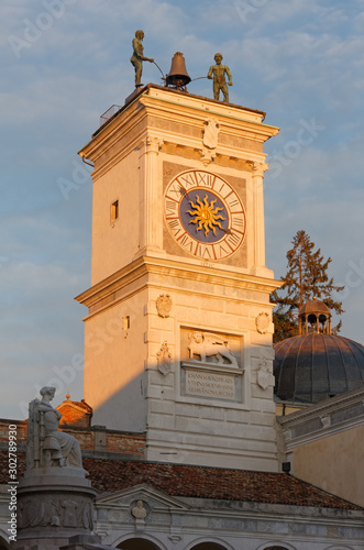 Tablou Canvas Clock Tower at Sunset in Udine, Italy