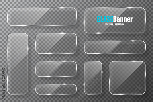 Fototapeta Glass frames collection. Realistic transparent glass banner with glare. Vector design element. obraz