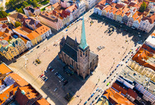 Aerial View To The Cathedral Of St. Bartholomew. Gothic Church Located On The Main Square In Pilsen.  Spire Height Is 102.3 M. Beautiful Czech Landmark.