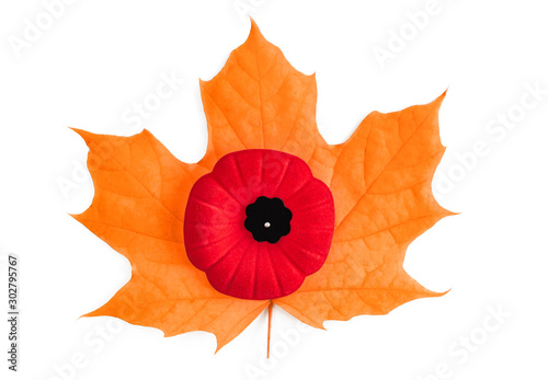 Poster Klaprozen Poppy flower a Canadian symbol for Remembrance day