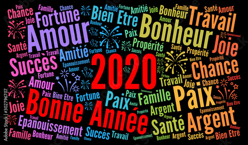 Photo Bonne année 2020 nuage de mots concept