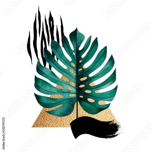 streszczenie-sklad-rosliny-tropikalnej-monstera-zlote-figury-geometryczne-i-wzor-zwierzecy