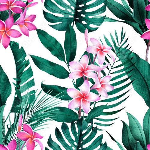 tropikalny-wzor-z-kwiatow-plumeria-egzotycznych-monstera-bananow-i-lisci-palmowych-na-bialym-tle
