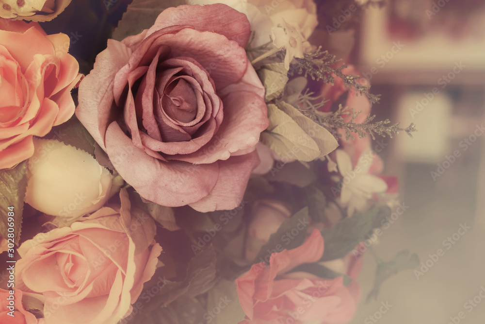 Fototapety, obrazy: Colorful pink roses in soft color and blur style for background, beautiful artificial flowers