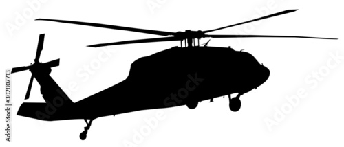 Fotografie, Obraz helicopter silhouette vector graphic
