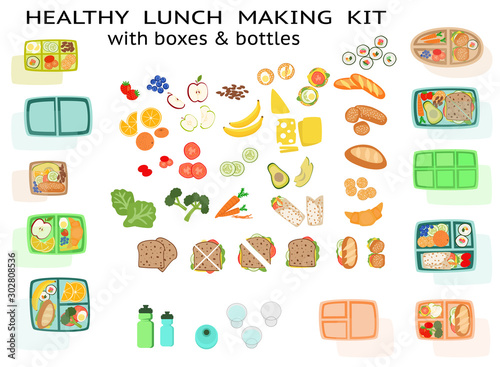 Photo Lunch making Kit lunchbox with healthy sandwich food fruit vegetables and boxes